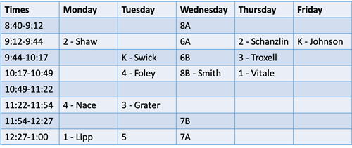 Early Dismissal MusicSchedule